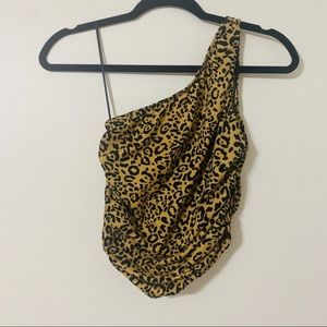 Urban Outfitters cheetah print one shoulder top